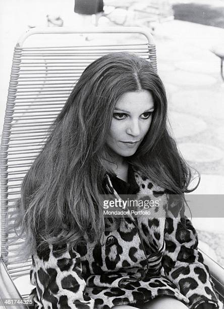 Portrait of Milva born Maria Ilva Biolcati a young and versatile artist seated on a deckchair on the sidelines of the Sanremo Music Festival Milva is...
