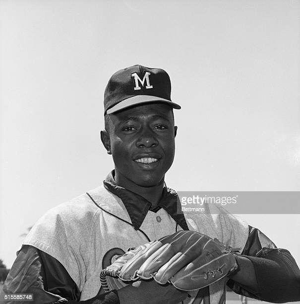 Portrait of Milwaukee Braves' outfielder Hank Aaron.