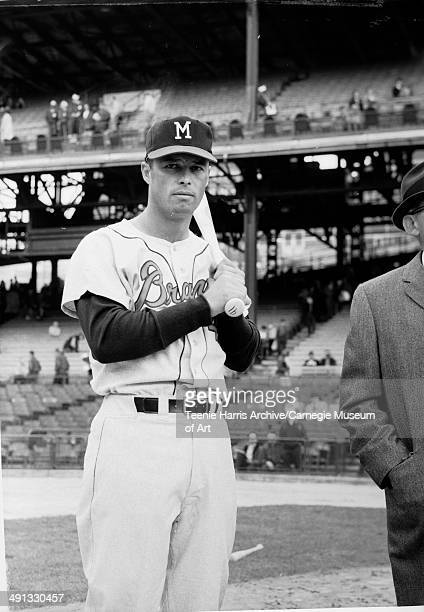 Portrait of Milwaukee Braves third baseman Eddie Matthews baseball player at All Star Game at Forbes field Pittsburgh Pennsylvania circa 1959