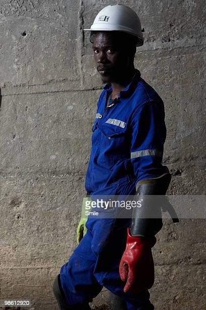 Portrait of miner wearing safety gear
