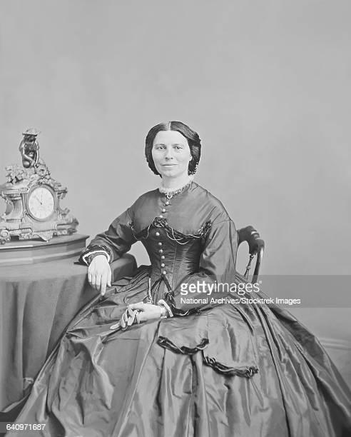 portrait of miss clara barton, circa 1866. - clara barton stock pictures, royalty-free photos & images