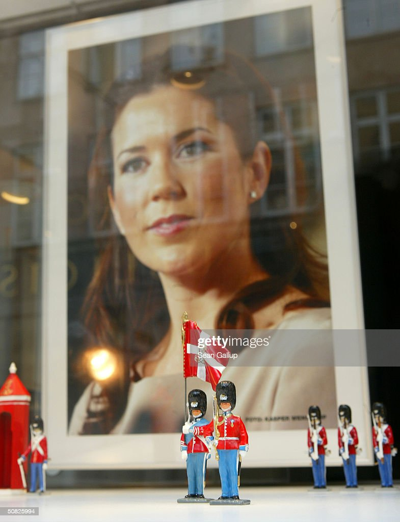 A portrait of Miss Mary Elizabeth Donaldson is displayed among Danish toy soldiers on May 11, 2004 in a shop window in Copenhagen, Denmark. Crown Prince Frederik and Donaldson are scheduled to be married on May 14th.