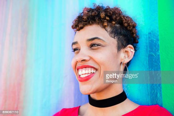 portrait of mixed race millennial woman in wynwood miami - choker stock pictures, royalty-free photos & images