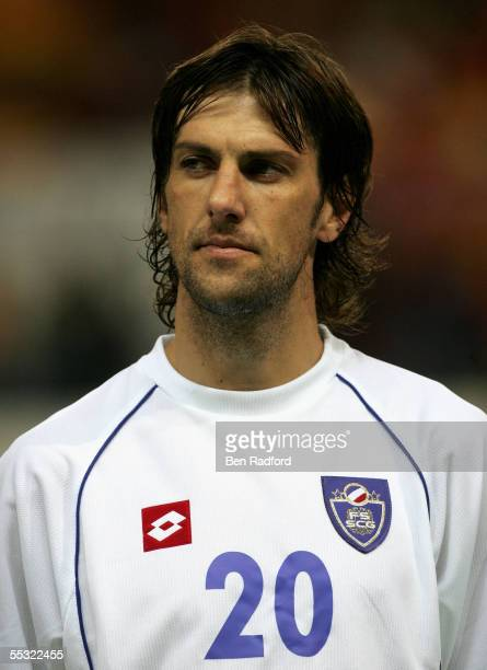 A portrait of Mladen Krstajic of Serbia Montenegro during the 2006 World Cup qualifying match between Spain and Serbia and Montenegro at the Estadio...