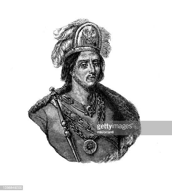 portrait of moctezuma ii (motecuhzoma xocoyotzin), ninth tlatoani or ruler of the aztec empire - spanish culture stock pictures, royalty-free photos & images