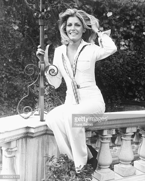 Portrait of model and former Miss World winner Marjorie Wallace in the gardens of Les Ambassadeurs Hotel London November 18th 1975