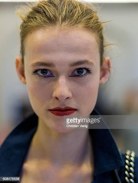 Portrait of model Emma Oak is seen backstage ahead of the By Malene Birger show during the Copenhagen Fashion Week Autumn/Winter 2016 on February 4...