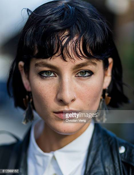 Portrait of model Heather Kemesky seen outside Emilio Pucci during Milan Fashion Week Fall/Winter 2016/17 on February 25 in Milan Italy