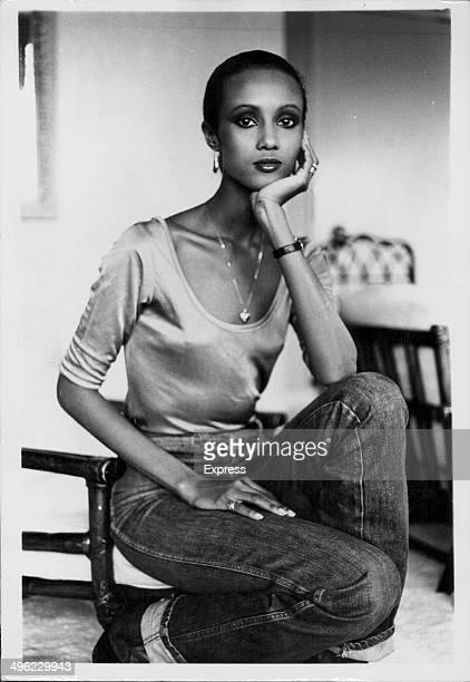 Portrait of model Iman Abdulmajid in her London hotel room April 2nd 1979