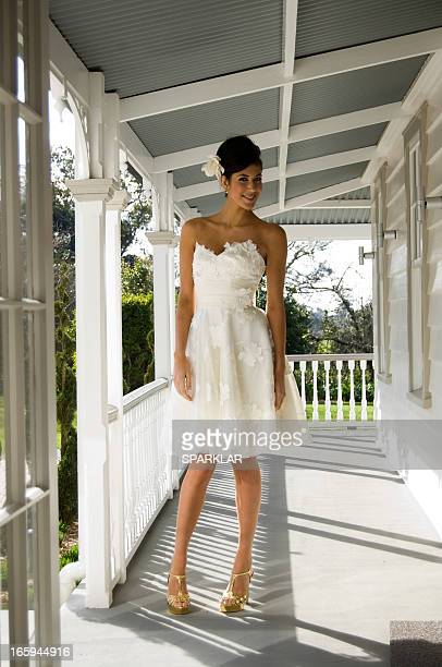portrait of model in modern bridal dress - strapless dress stock pictures, royalty-free photos & images