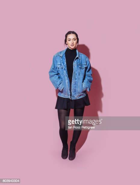 Portrait of model on pink background
