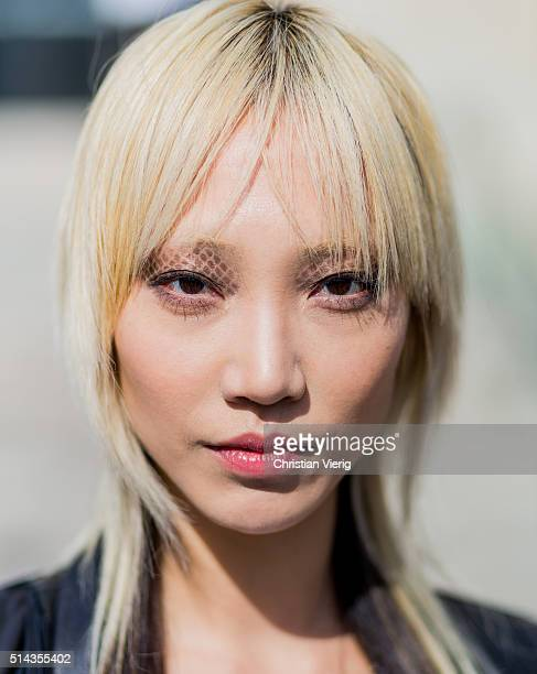 Portrait of model Soo Joo Park with eye make up outside Chanel during the Paris Fashion Week Womenswear Fall/Winter 2016/2017 on March 8 2016 in...