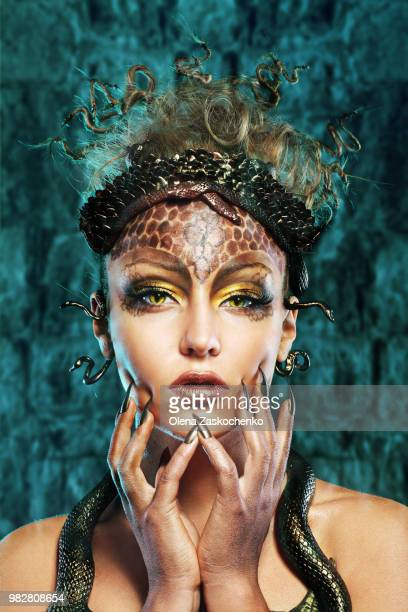 portrait of model stylized as mythical gorgon - medusa stock photos and pictures