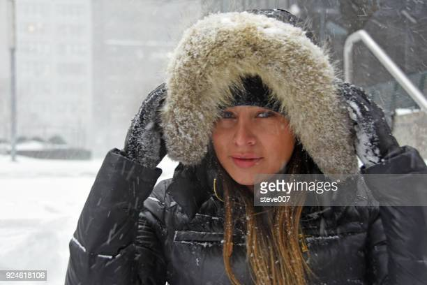 A Portrait Of Model Taken During  A 9.8 Inch Snowstorm On Thursday January 4, 2018 In New York City.
