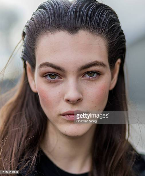Portrait of model Vittoria Ceretti with wet hair outside Miu Miu during the Paris Fashion Week Womenswear Fall/Winter 2016/2017 on March 9 2016 in...