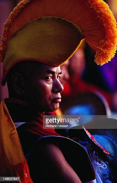 portrait of monk at mani rimdu festival. - mani rimdu festival stock pictures, royalty-free photos & images