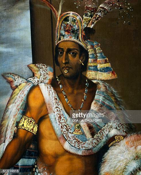 Portrait of Montezuma II Tecnochtitlan the last king of the Aztecs 16801697 painting by Antonio Rodriguez oil on canvas Mexico 16th17th century...