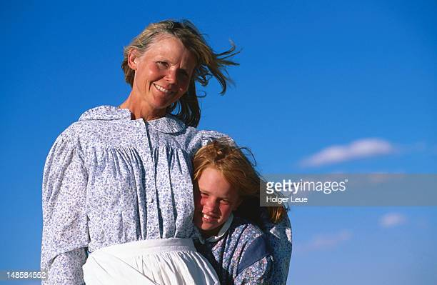 Portrait of Mormon mother and daughter, Mormon Pioneer Wagon Train to Utah, near South Pass.