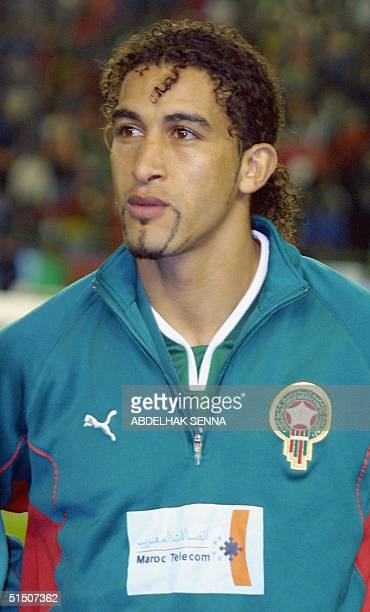 Portrait of Moroccan Mustapha Hadji taken 25 March 2001 in Rabat before the start of his team's 2002 African Nations' Cup qualifying soccer match...