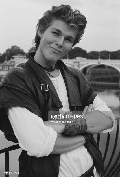 Portrait of Morten Harket of AHa by the River Thames during the recording of the band's first album Twickenham London 1984