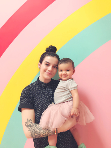 Portrait Of Mother And Daughter Against Multi Colored Background - gettyimageskorea