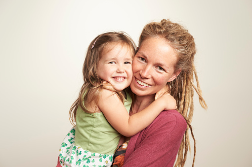 Portrait of mother and daughter - gettyimageskorea