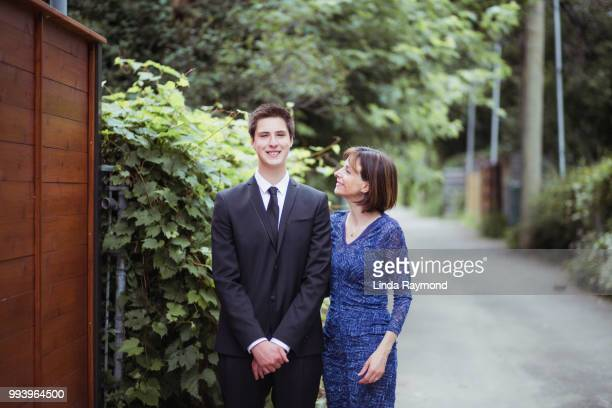 Portrait of mother and son for prom night