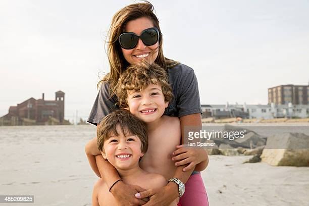 Portrait of mother and two boys, Long Beach, New York State, USA