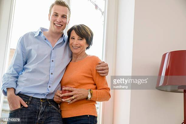 Portrait of mother with grown up son