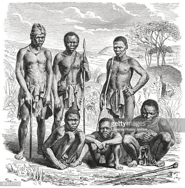 Portrait of Mountain Damaran Men Namibia Illustration 1885