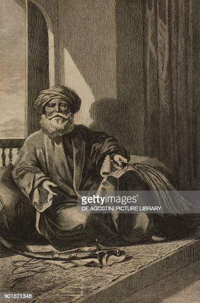 Portrait of Mourad Bey Egyptian Mamluk chieftain engraving by Lemaitre from Egypte depuis la conquete des Arabes jusque a la domination francaise by...