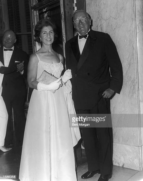 Portrait of Mr and Mrs Hugh D Auchincloss mother and stepfather of Jacqueline Bouvier Kennedy Onassis at the Elizabeth Arden International Ball...