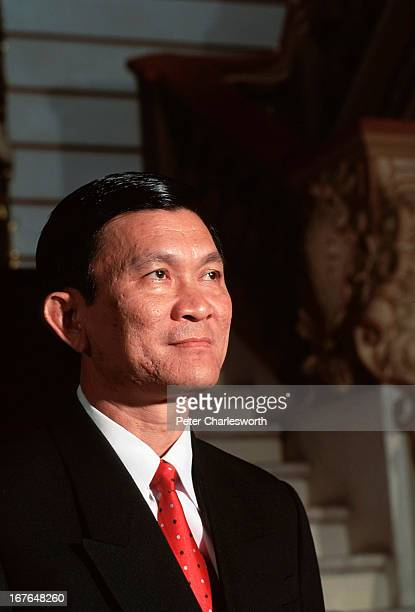 Portrait of Mr Troung Tan Sang Chairman of the People's Committee of Ho Chi Minh City posing on the main staircase of the People's Committee building...
