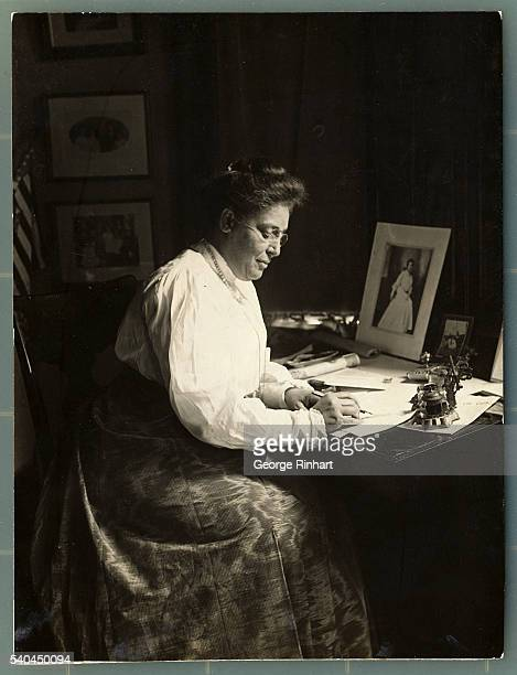 Portrait of Mrs Booker T Washington in library of Tuskugee home in Tuskagee Alabama