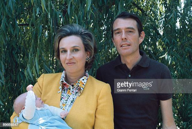 Portrait of Mrs Pilar de Borbon Spanish princess and his husband Luis Gomez Acebo Badajoz dukes with their son Luis Bertran