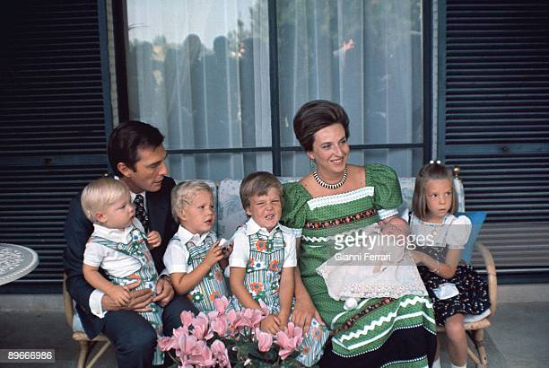 Portrait of Mrs Pilar de Borbon Spanish princess and his husband Luis Gomez Acebo Badajoz dukes with their children Luis Bertran Bruno Alejandro Juan...