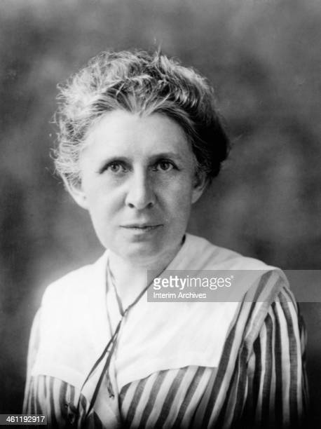Portrait of 'muckracker' journalist Ida Tarbell best known for her expose of Standard Oil's monopoly 1919