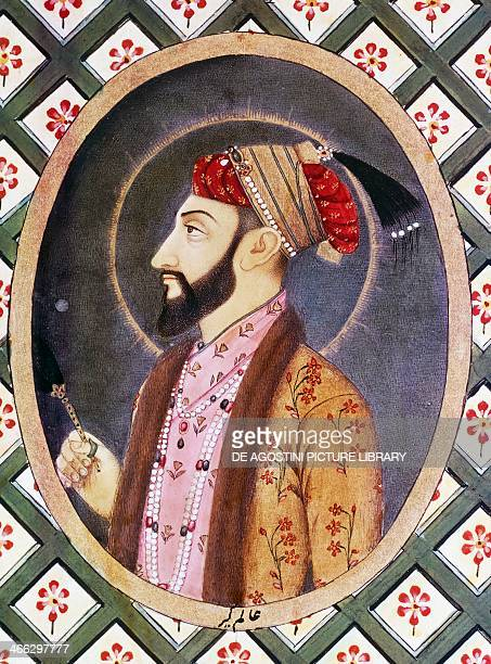 Portrait of Mughal Emperor Aurangzeb known as Alamgir I ruler of India from 1658 to 1717 18th century Indian miniature