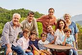 Portrait of multi generation family in yard