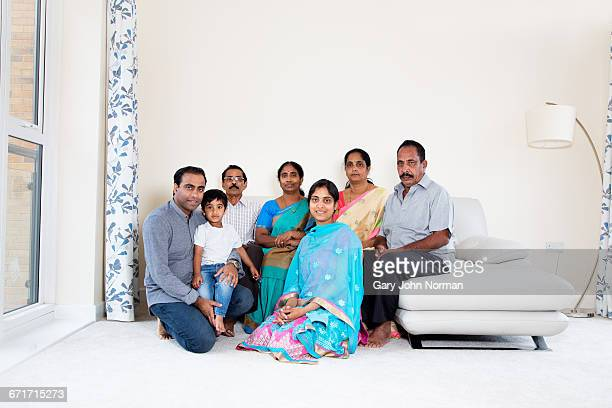 Portrait of multi generation Indian family at home