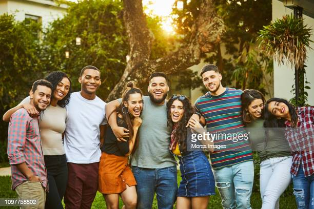 Portrait of multi-ethnic happy friends in party