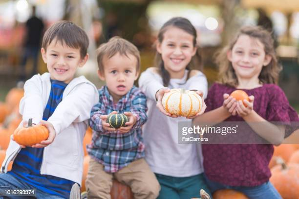 portrait of multiethnic kids at the pumpkin patch! - month stock pictures, royalty-free photos & images