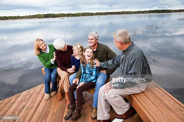 portrait of multi-generation family - family reunion stock pictures, royalty-free photos & images