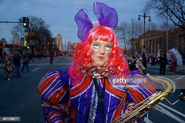 portrait of mummer's parade participant - mummers parade stock pictures, royalty-free photos & images