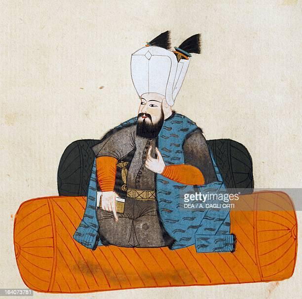 Portrait of Murad III Sultan of the Ottoman Empire illustration from Turkish Memories Arabic manuscript Cicogna Codex 17th century Venice Museo Correr