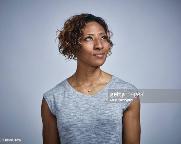 portrait of muscular african american female - attitude stock pictures, royalty-free photos & images