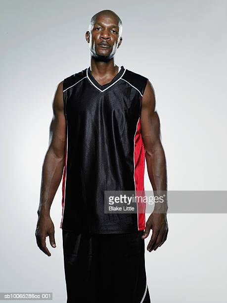 Portrait of muscular basketball player