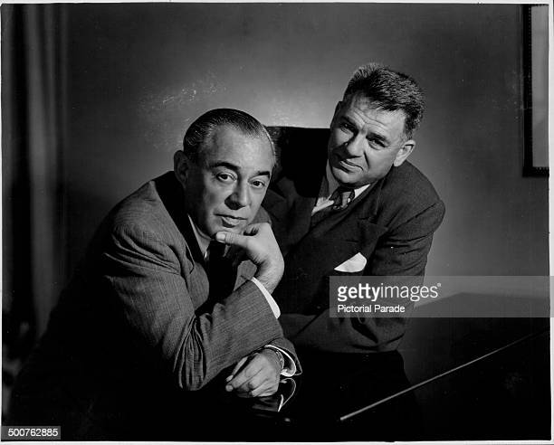 Portrait of music composers Richard Rodgers and Oscar Hammerstein at a piano during the development of their new musical 'Pipe Dream' 1955