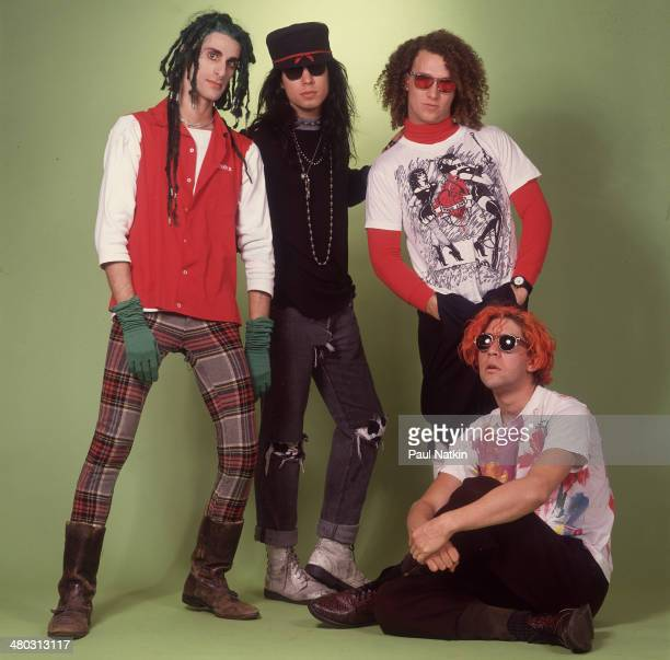 Portrait of music group Jane's Addiction Chicago Illinois November 27 1988 Pictured are from left musicians Perry Farrell Dave Navarro Stephen...