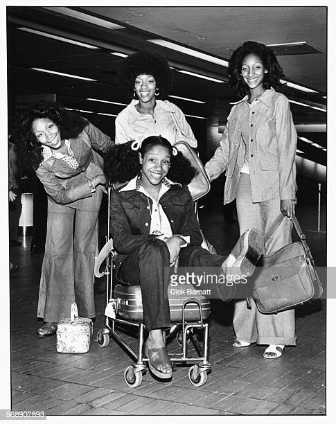 Portrait of music group 'Sister Sledge' at the airport circa 1977